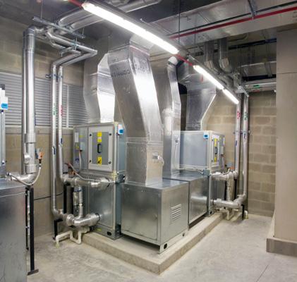 Cuarto de Maquinas con Unidades Maneadora de Aire con ductos de suministro y retorno en fibra de vidrio , schlumberger